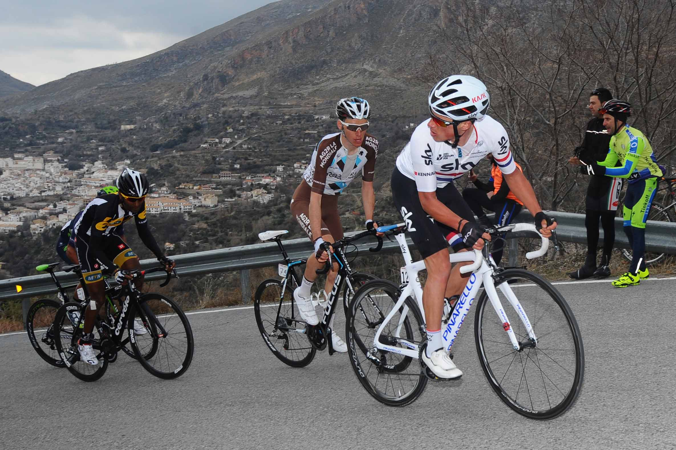 Peter Keennaugh checked the situation on the final climb. Kennaugh finished in the top ten on the stage, and sits fifth oveall. Photo: TDWsport.com