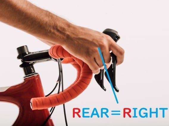 ロードバイク ギアチェンジ 左右 リア=右