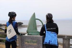 長者ヶ崎の「日本ヨット発祥の地」像
