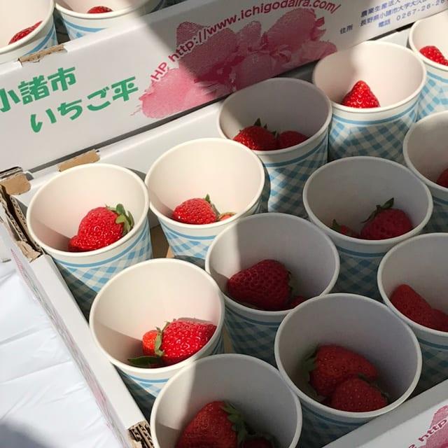 第4エイドはイチゴとおいなりさん。