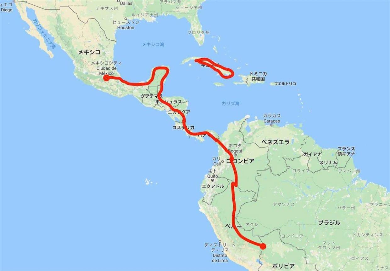 今回の旅のルート
