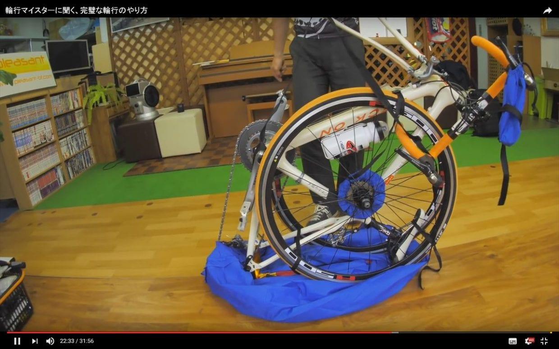 巾着袋を外側にめくっておき、穴と肩ひもの位置が一緒になるように自転車を置く
