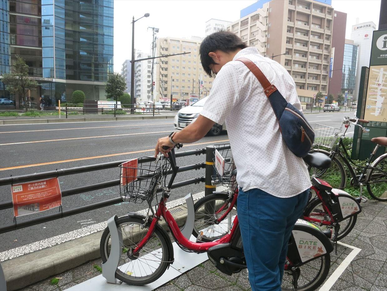 ▲返却手順は、ポートに自転車を停め