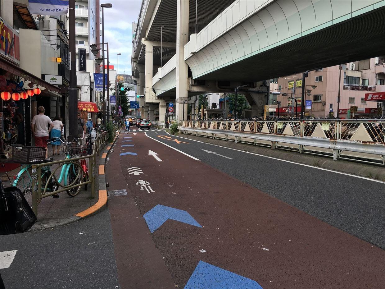 ▲東京都内で整備が進む自転車ナビライン・ナビマーク