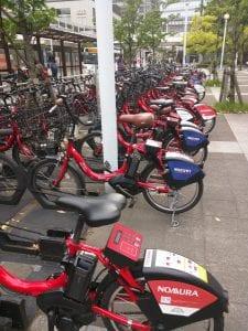 ドコモバイクシェア、品川駅近くのポートにて