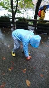 補給所ポイントでは落ち葉を拾っているボランティアさんが。雨の中、この落ち葉一枚で落車が起きないようにとのきめ細やかな心配りに頭が下がります