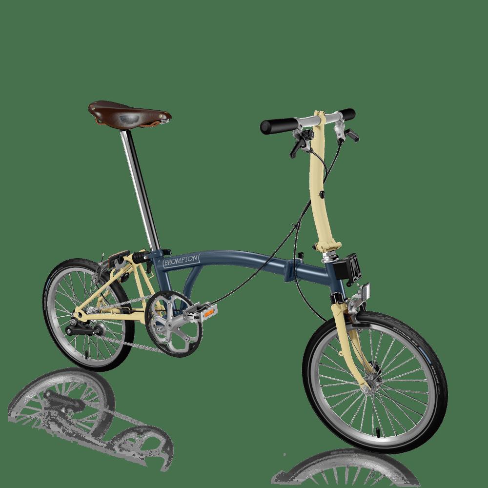 ブロンプトンサイトにある「バイクビルダー」でバーチャルで作ってみた、2速+Sタイプハンドルの軽量ながらクラシックな雰囲気のブロンプトン。ブルックスサドルがよく似合う。