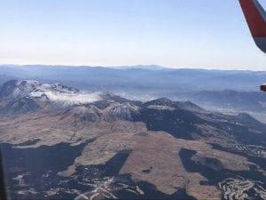 飛行機から見た阿蘇中心部。