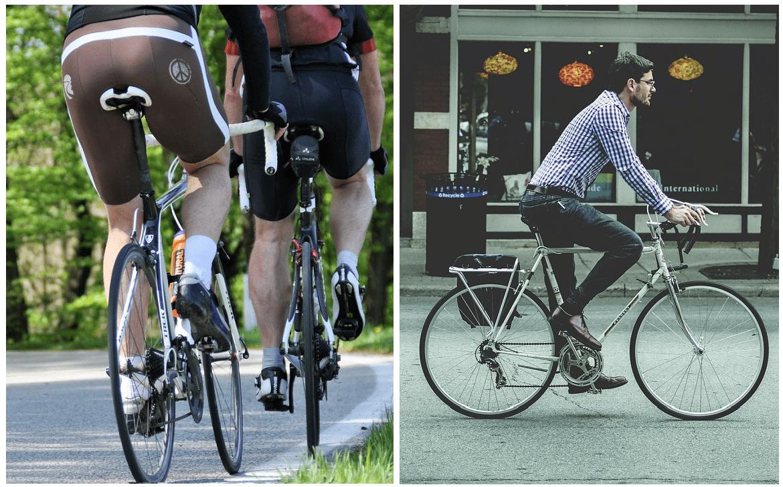 サイクルウェアと普段着のサドル周りの違い