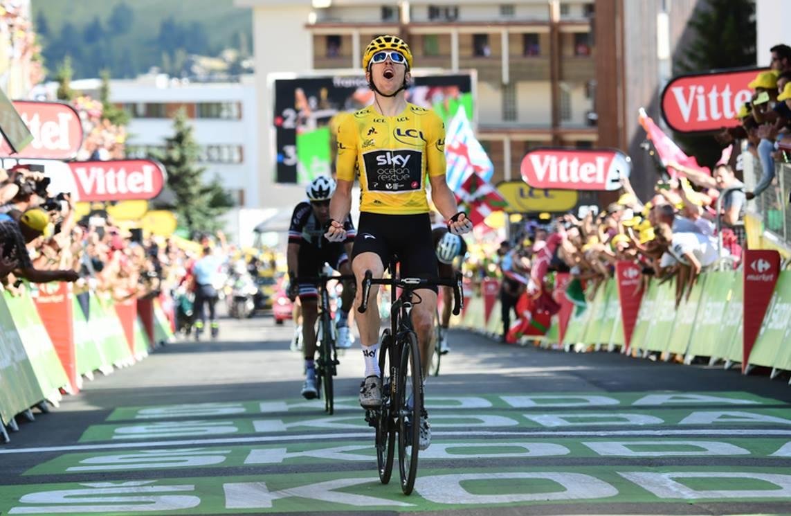 第12ステージでも勝利したゲラント・トーマス(イギリス、チームスカイ)。マイヨジョーヌによるステージ優勝は、最強の証明だ 2018 ツールドフランス