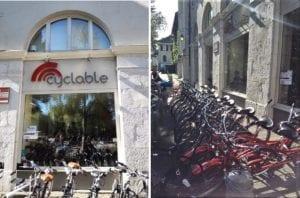 アヌシー市内のレンタサイクル『Cyclable Location Velo』。数多くの種類の自転車がありました。