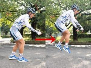 まずはバイクを使わずトレーニング。足首やヒザを使い小さな動きでジャンプする。