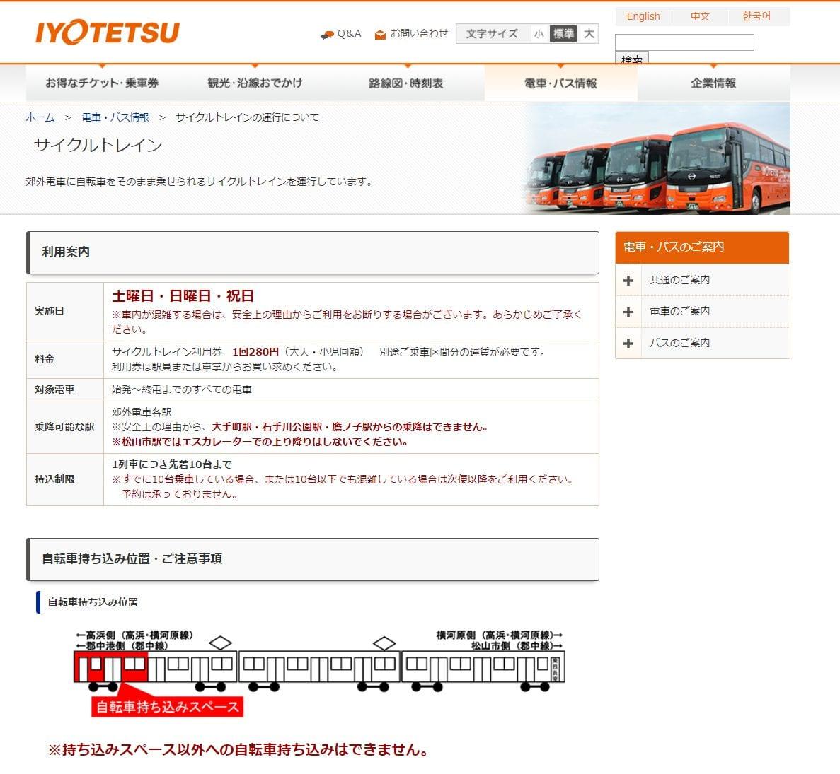 伊予鉄道 サイクルトレイン