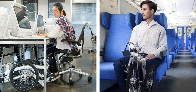 一般的な事務机ならデスク下に収納できるし、新幹線の自席に置くことだってできる。