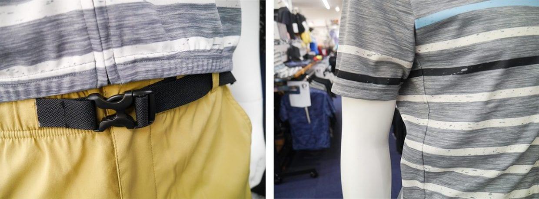 ジャージは袖や脇にゆとりのあるルーズフィットタイプで楽に着られる