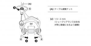 ブレーキワイヤーのケーブル調整ナットを回して、シュークリアランス(ブレーキレバーの引きしろ)を微調整します。
