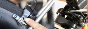 センタリング調整ボルト ※ブレーキによって調整ボルトの位置は異なります