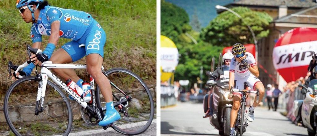 (左)新城幸也がジロ・デ・イタリアやツール・ド・フランスのステージ入賞を果たした。(右)萩原麻由子選手がジロ・ローザにてステージ優勝を飾った。