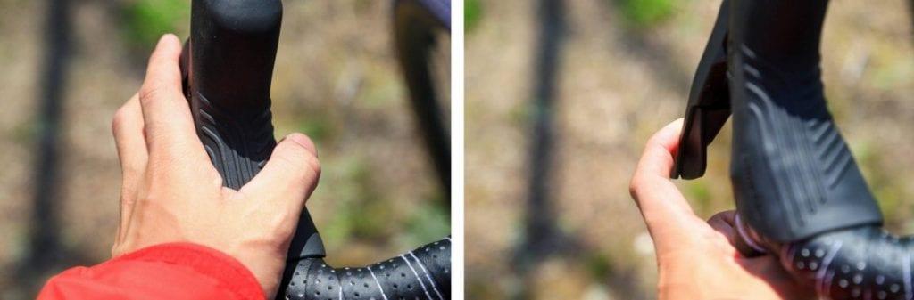 指のひっかかりがよく、手がすっぽ抜けるのを防ぐ。ブレーキは、より小さな力で確実な制動力が働く。