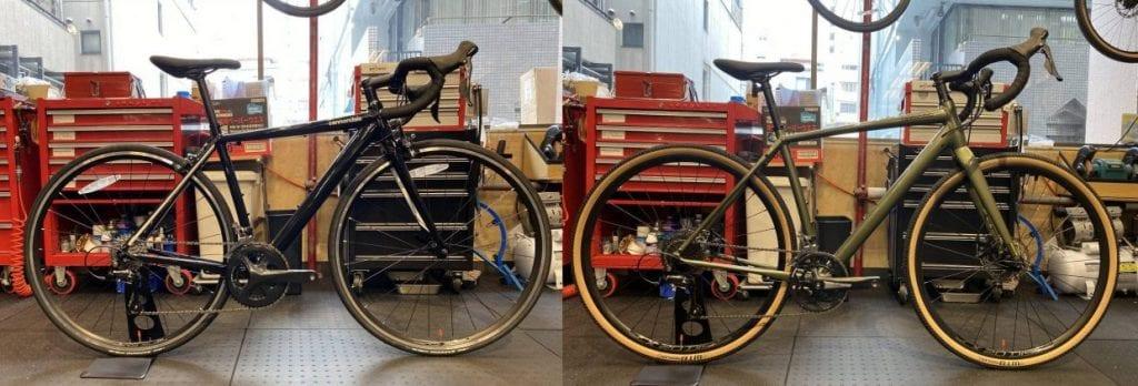 (左)ロードバイク:Cannondale CAAD Optimo SORA (右)グラベルロード:Cannondale TOPSTONE SORA