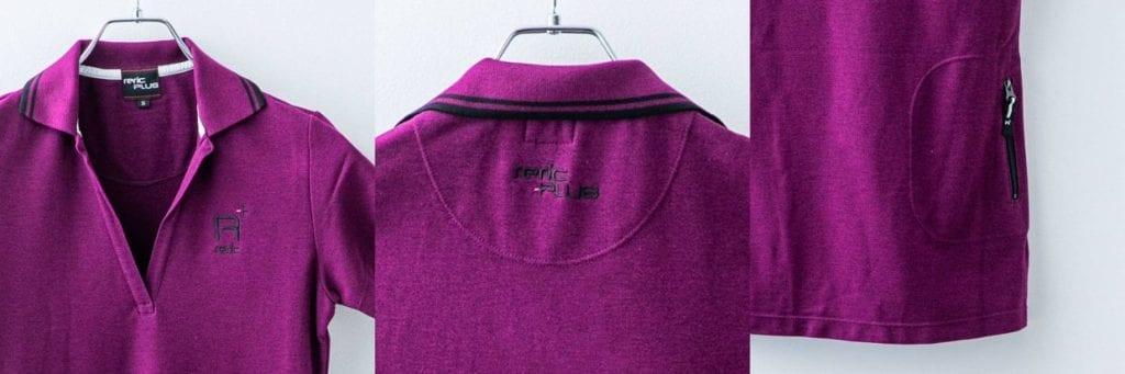 ・左胸に「reric PLUS」のロゴ刺繍 ・襟下に「reric PLUS」のロゴ刺繍 ・右後ろにファスナー付きポケット