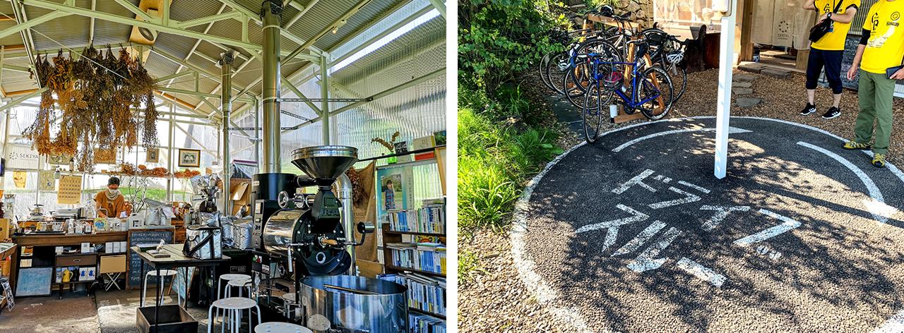 おしゃれな店内。コーヒーはテイクアウトも可能で、ドライブスルー左側にサイクルラック、ベンチとテーブルが設置されています。