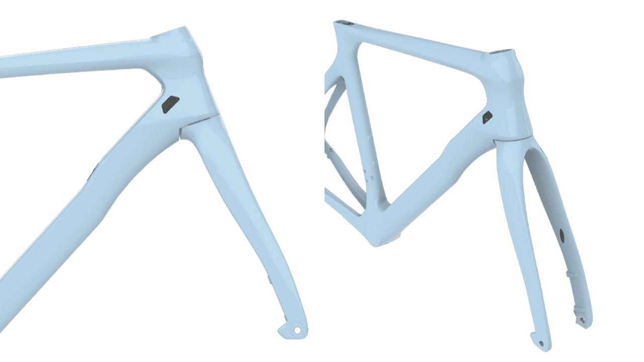 """PARISのモックアップイメージ。ヘッドチューブ~ダウンチューブにかけては剛性感を高めるボリューミーなデザイン。安定した """"ピナレロハンドリング"""" を実現する。"""