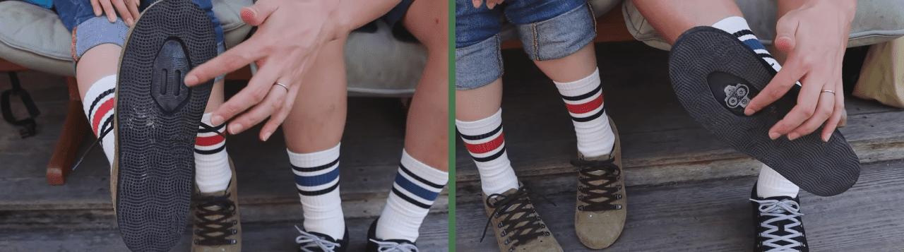 靴底に凹んだ部分があり、歩きやすい