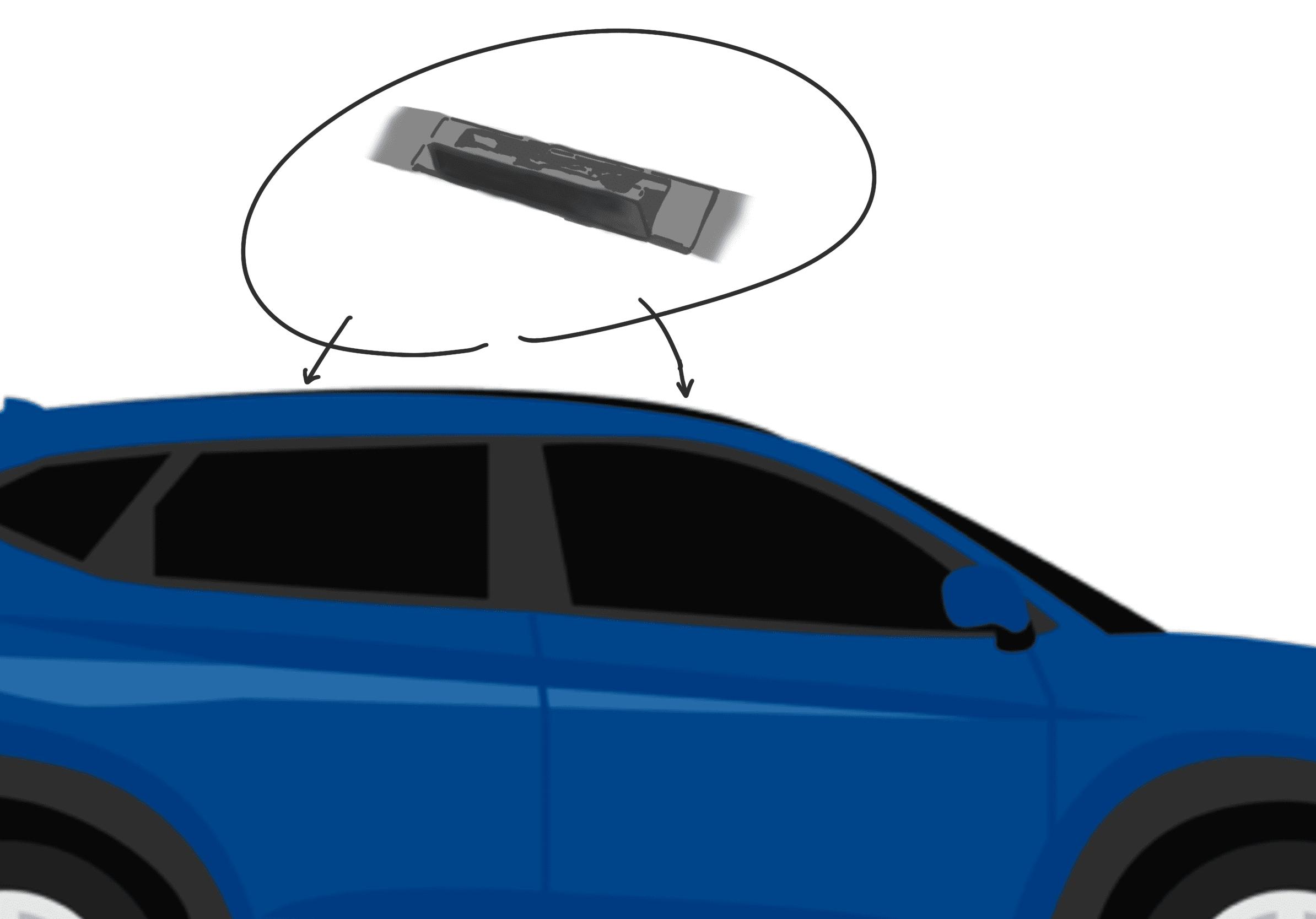 ルーフオンタイプにはベースキャリア「取り付けポイント」が付いている車もある