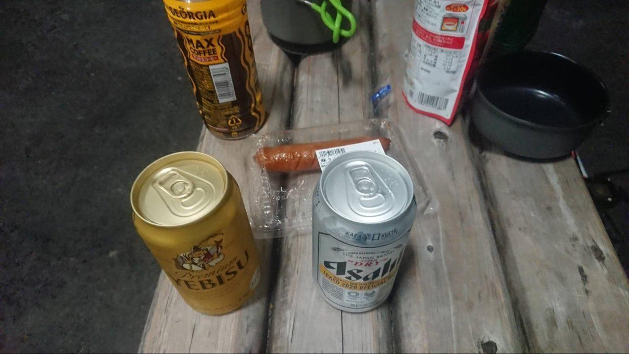 道の駅で野宿中 キャンピングカーで旅をしている方からビールのおすそ分け