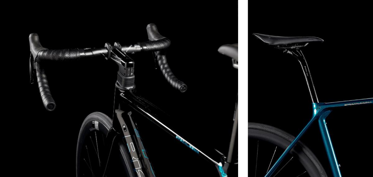 (左)強力な制動力に耐えうる、高剛性かつ最軽量なフルカーボンフォークを新たに設計。(右)シートクランプはインテグレーテッドシステムを採用。シートチューブ上部はシンプルにまとめられた構造となり、優れたエアロ効果と剛性、なおかつ快適性を向上。