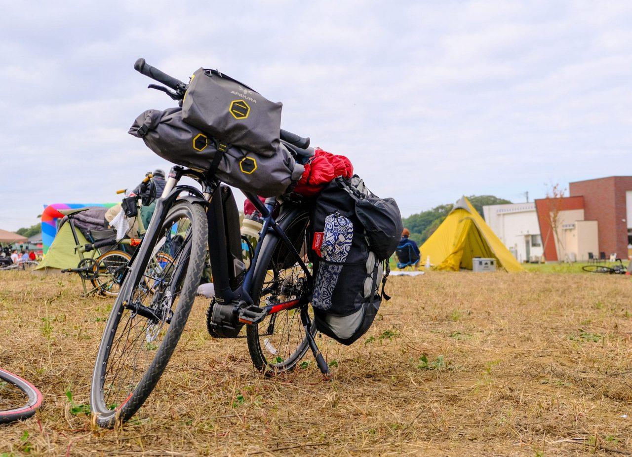 撤収完了時。自転車が起きた状態で荷物を積んでいけるのはかなりラクチン!