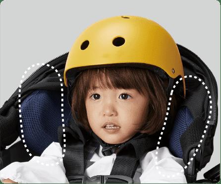 コンビ独自開発の衝撃吸収素材が子どもの頭を包むようにしっかり守る