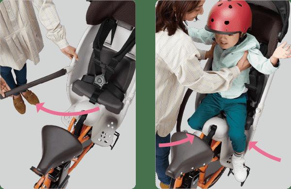 開閉ガードがフルオープンするので、左右どちらからでも、楽に子どもを乗せ降ろしできる