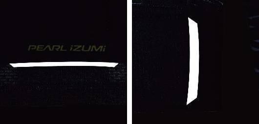 夜間の視認性を確保する裾後部(左)両袖後部(右)の再帰反射