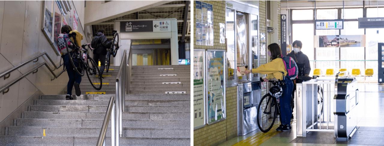 両国が専用ゲート&ホームだったのに対し、佐倉はいたって普通の駅。通常のホームに下車し階段を登りますが、駅構内・改札内とも自転車を押して歩くことができます。