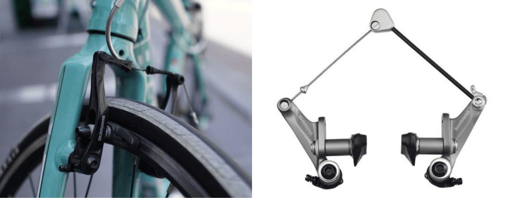 左:Vブレーキ、右:カンチブレーキ(Image:SHIMANO)。クロスバイクに多いのはVブレーキ。