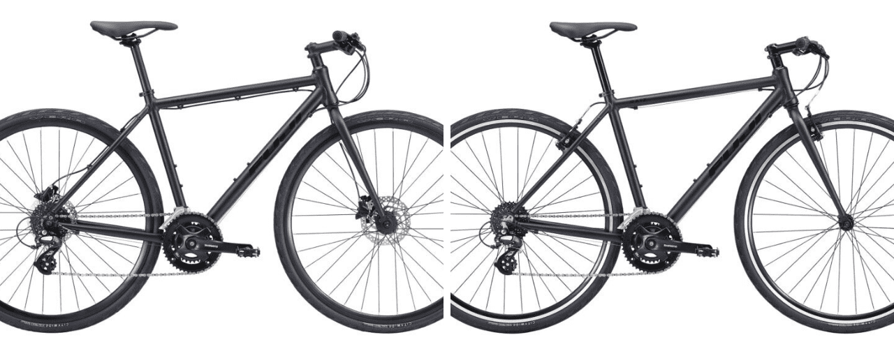FUJIの定番クロスバイク「RAIZ」。左がディスクブレーキモデル、右がリムブレーキモデル。 Image: AKIBO
