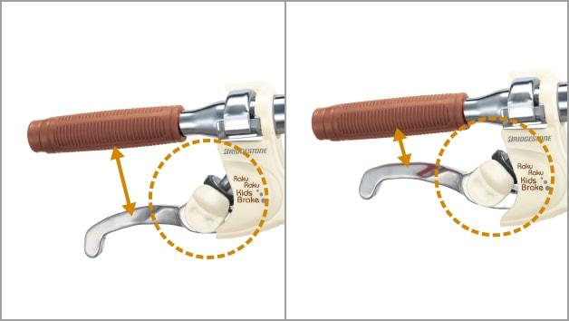 ブリヂストン キッズ向け自転車の「こどもラクラクブレーキ」は、工具なしでレバー調整できる