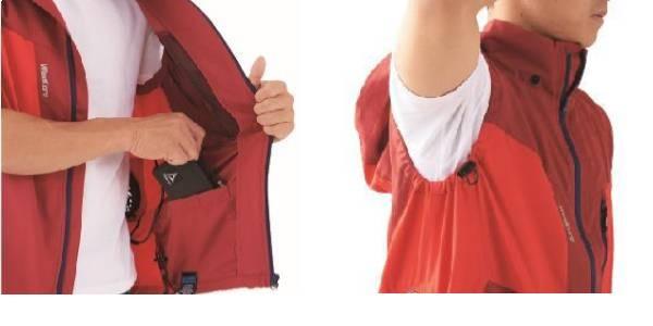 (左)バッテリー収納内ポケット (右)脇下でも空気量調節可能