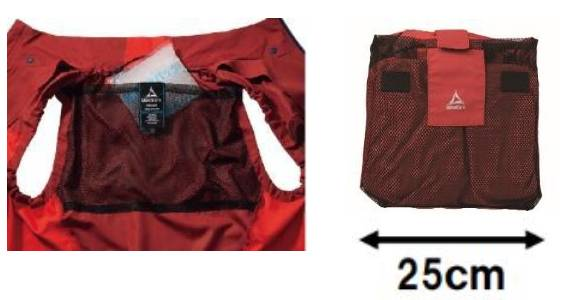 背中ポケットは保冷剤収納可能兼、ポケッタブルにも