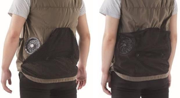 2WAY仕様 両サイドには6つのポケット着用シーンに合わせてファンの穴が隠せる!